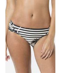 Black and white fixed bikini bottom in palm tree print - BOTTOM CLASSICO ROLLER