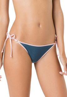 Blue bikini bottom with pale pink border - BOTTOM CORTININHA VIES ARGOLA AZUL