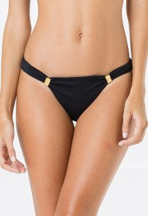 Black fixed bikini bottom with gold details - BOTTOM CROPPED LISO