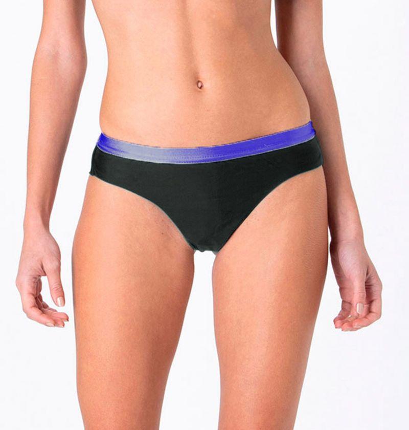 Black & purple fixed cheeky Brazilian bikini bottom - BOTTOM FIXED INTIMATES BLACK