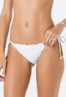 Side-tie textured white scrunch bikini bottom - BOTTOM FRUFRU ANARRUGA BRANCO
