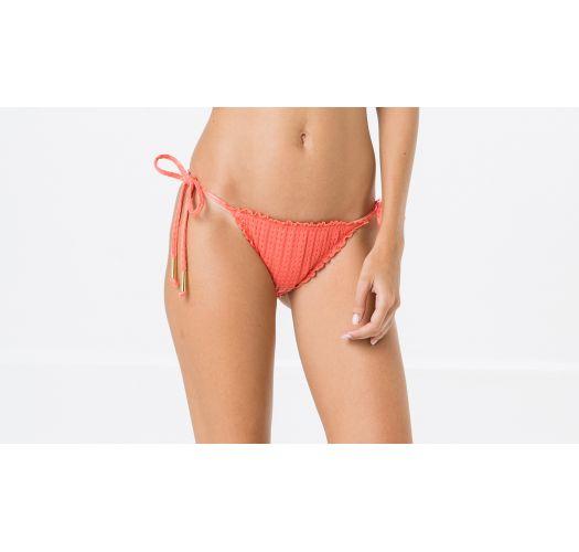 Koralrøde brasilianske scrunch bikinitrusser i tekstureret materiale - BOTTOM FRUFRU ANARRUGA CORAL