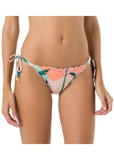 Rynkad bikini nedredel i tropiskt pastelltryck - BOTTOM FRUFRU BRISA