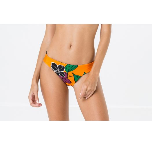 Fastsiddende orange bikinitrusser med blomstermønster - BOTTOM METAL AMELIA