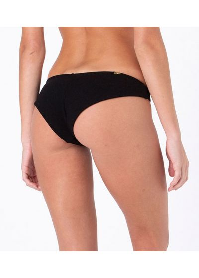 Black textured fabric fixed bikini bottom - BOTTOM MIRACLE BUCLET