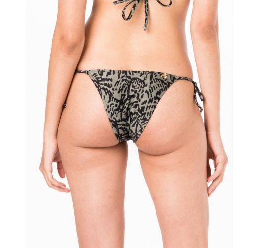 Side-tie bikini bottom in khaki print - BOTTOM TRIANGULO KAKI TINA