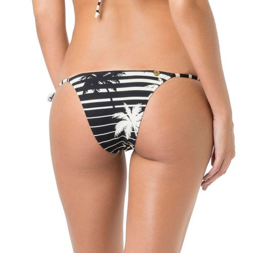 Bi-color side-tie bikini bottom in stripes and palm trees - BOTTOM TRIANGULO ROLLER