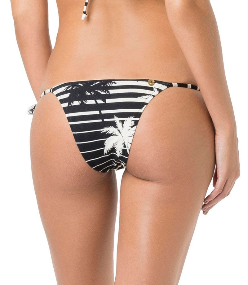 Bi-color side-tie bikini bottom in stripes and palm trees - BOTTOM TRIANGULO ROLLER