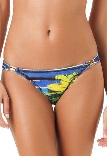 Dół od bikini nieprzesuwany w tropikalny motyw, złote detale - CALCINHA AGUA DE PRATA