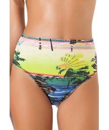 High-waisted swimsuit bottom, tropical print - CALCINHA ALTO ALEGRE
