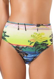 High-waisted swimsuit bottom, tropical print - CALCINHA ALTO ALEGRE
