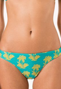 Turkusowe figi do bikini, motyw palm - CALCINHA ARRAIAL
