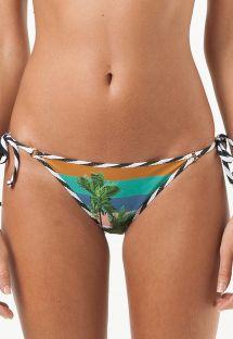 Bikinibroekje met palmbomen, gestreepte rand - CALCINHA BOMFIM