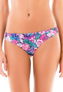 Mauve pink floral print fixed Brazilian bottom - CALCINHA FRENTE UNICA LASTEX KITTY