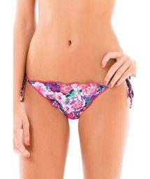 Mauve pink floral Brazilian scrunch bikini bottom - CALCINHA LACINHO FRUFRU KITTY