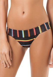 בגד ים ברזילאי חלק תחתון צבע שחור עם פסים צבעוניים - CALCINHA LONG WIND