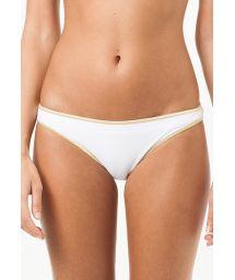 White fixed swimsuit tanga with gold-coloured edging - CALCINHA LOUISIANA