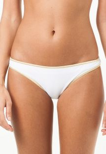 White fixed swimsuit tanga with gold-coloured edging - CALCINHA LOUISIANA