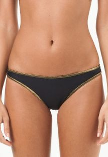 Black fixed swimsuit tanga with gold-coloured edging - CALCINHA MARYLAND