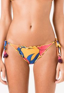 Yellow floral scrunch bottom with tassels - CALCINHA MONTREAL