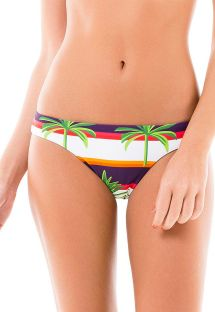 Fixed Brazilian bikini bottom with stripes and palm trees - CALCINHA NOVA MIRACLE RIVER