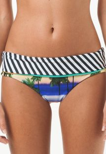 Reversible tropical/striped Brazilian hot pants - CALCINHA PRAIA BRAVA