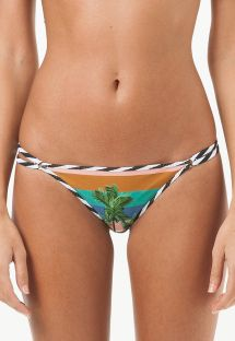 Tropical Brazilian bottom with striped double straps at the side - CALCINHA RETIRO