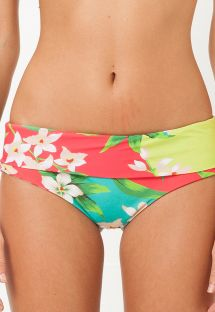 Floral swimsuit bottom with wide sides - CALCINHA SALTO