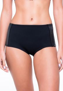 Black bi-material high-waisted bikini bottoms - CALCINHA YAS SHARK