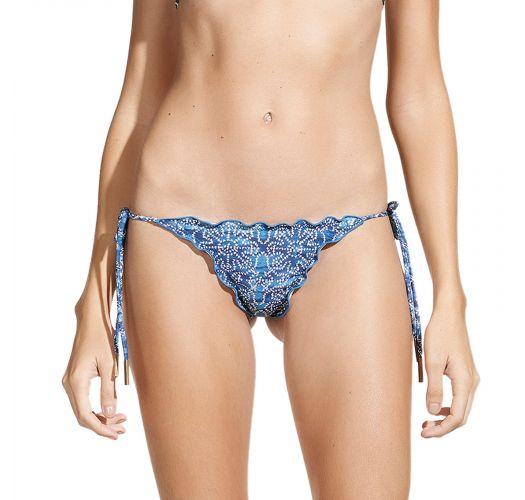 Blue two-print Brazilian scrunch bikini bottom - CALCINHA HAZEL RIPPLE