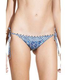 Blue printed Brazilian bikini bottom accented with beads - CALCINHA HAZEL TIE