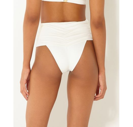 Accessorized high-waisted draped bottom in ecru - BOTTOM BANDEAU OFF WHITE