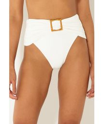 Drapierte High-Waist-Bikinihose in Ecru mit Accessoire - BOTTOM BANDEAU OFF WHITE