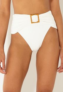 Marszczone figi ecru do bikini z wysokim stanem z dodatkami - BOTTOM BANDEAU OFF WHITE