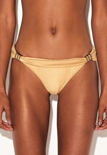 Shiny textured gold Brazilian bikini bottom - BOTTOM PRECIOSA DOURADO