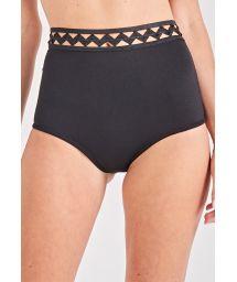 Black high-waisted bikini bottom with openwork - BOTTOM TORCIDO PRETO