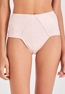 Nude spotted high-waist bikini bottom - BOTTOM TORCIDO ROSE