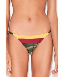 Fixed tanga in camouflage print and colored bands - BOTTOM TRI CAMOUFLAGE