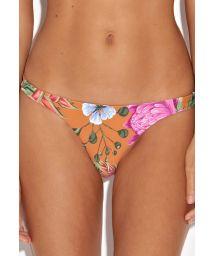 Orange floral fixed Brazilian bikini briefs - CALCINHA AMAZON FLOWERS