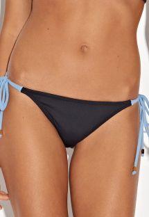 Braguita brasileña negra con lazos azules - CALCINHA AREIA DE COPACABANA