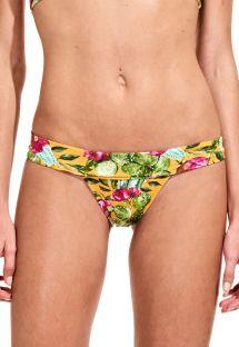 Yellow floral Brazilian bottom, retro style - CALCINHA CACTUS FLORAL