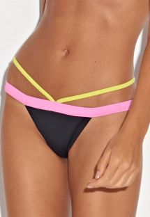Bandprydd brasiliansk underdel i svart/rosa/gult - CALCINHA FIM DE TARDE