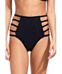 Black strappy high waist bikini bottom - CALCINHA PRETO ONÇA
