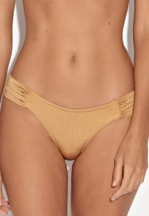 Gold fixed Brazilian bottoms with pleated sides - CALCINHA SOL DA TARDE
