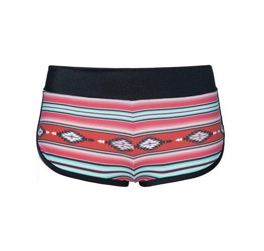 Mini swimming shorts red striped ethnic print - SHORT NAVAJO