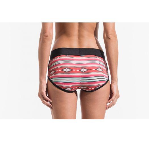 Plavací mini šortky s červenými proužky a etnickým potiskem - SHORT NAVAJO