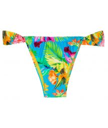 Sliding Brazilian bottom with tropical flowers - CALCINHA TROPICAL BLUE TOMARA QUE CAIA