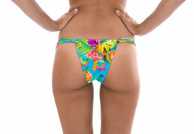 Sliding Brazilian bottom with tropical flowers - CALCINHA TROPICAL BLUE TOMARA QUE CAIA