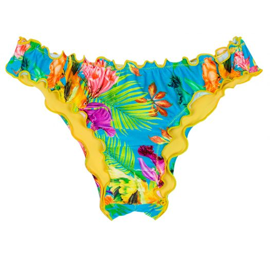 Bathing tanga in tropical floral print with scalloped edges - CALCINHA TROPICAL BLUE OMBRO A OMBRO