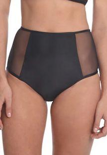 Black high-waisted bikini bottom with transparencies - BOTTOM FAIXA COM TULE